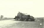 Wrecked Soviet BA-10M armored car during the Battle of Khalkhin Gol, Mongolia Area, China, 1939