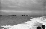Allied landing ships sailing for the invasion beaches at Normandy, France, 5 Jun 1944
