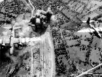 American A-20 Havoc bombers attacking railways behind German lines in Domfront, Orne, France, Jun 1944