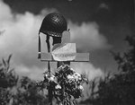 Tribute to a killed American soldier erected by French civilians, Carentan, France, 17 Jun 1944