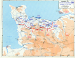 Map depicting the Allied attempt to expand the beachhead at Normandy, France, 1-24 Jul 1944