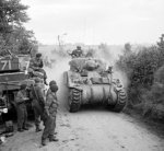 British Sherman tanks near Lebisey Wood for the assault on Caen, France, 8 Jul 1944