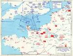 Map noting Allied and German dispositions in southern England, United Kingdom and Normandy, France on 6 Jun 1944