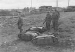 Captured German remote-controlled explosive carriers, Normandy, France, Jun 1944