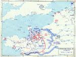 Map depicting the Allied breakout in Normandy, France, 1-13 Aug 1944