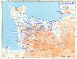 Map depicting the Allied breakthrough at Saint-Lô, France, 25-31 Jul 1944