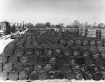 Stocks of oil and other supplies gathered at Hixton General Depot, G-23, England, United Kingdom in preparation for the invasion of France, 8 Apr 1944