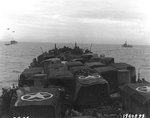 Vehicles and British troops on board a LST off Utah Beach, Normandy, 9 Jun 1944