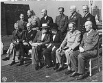 Octagon Conferece, Sep 1944; sitting: Marshall, Leahy, Roosevelt, Churchill, Brooke, Dill; standing: Hollis, Ismay, King, Portal, Arnold, Cunningham