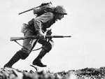 US Marine Private First Class Paul E. Ison running through Japanese fire at