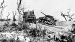 Two wrecked M4 Sherman tanks at Bloody Ridge, destroyed by Japanese artillery, Okinawa, Japan, 20 Apr 1945