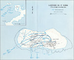 Map depicting the landings at Ie Shima, Okinawa, Japan by men of US Army 77th Division, 16 Apr 1945