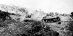 M4 Sherman tanks of US 769th Tank Battalion moving toward Hill 89 on Okinawa, Japan, mid-Jun 1945