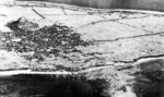 Aerial photo of the town of Ie on Ie Jima, Japan, circa 1945