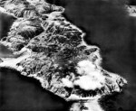 Aerial view of Tokashiki Island, Okinawa, Japan, 1945