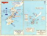 Map of Japanese dispositions at Okinawa, Japan and the American Operation Iceberg, 1-8 Apr 1945