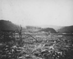 View of a devastated area on Okinawa, Japan, 1945