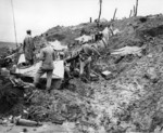 Men of 1st Battalion of US 4th Marine Regiment setting up camp on