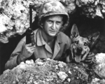 US Marine Private John Drugan and his war dog, Okinawa, Japan, May 1945