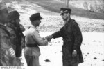 Major Harald-Otto Mors shaking hands with Georg von Berlepsch, Gran Sasso, Italy, 12 Sep 1943