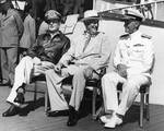 MacArthur, Roosevelt, and Nimitz aboard USS Baltimore, Pearl Harbor, US Territory of Hawaii, 26 Jul 1944, photo 1 of 3