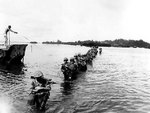 US Marines wading through water, Peleliu, Palau, Sep 1944