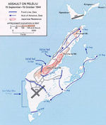 Map depicting the American assault on Peleliu, Palau Islands, 15 Sep-15 Oct 1944