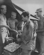US Marines in a chow line, Peleliu, Palau Islands, Sep 1944
