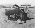 Destroyed automobile, Oahu, US Territory of Hawaii, Dec 1941
