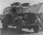 Destroyed 1938 Ford ambulance stationed at Ewa Field, Oahu, US Territory of Hawaii, Dec 1941