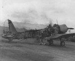 Destroyed SB2U Vindicator aircraft at Ewa Field, Oahu, US Territory of Hawaii, Dec 1941