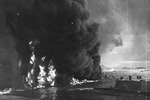 Oil burning on the water surface in Pearl Harbor, Oahu, US Territory of Hawaii, 7 Dec 1941