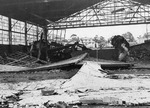 Damaged P-26 aircraft and hangar at Wheeler Field, Oahu, US Territory of Hawaii, 11 Dec 1941