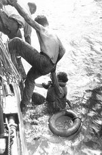 American survivors of the Battle off Samar rescued by an US Navy ship on 26 Oct 1944