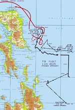 Map depicting fleet movements during the Battle off Samar, 25 Oct 1944