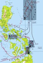 Map depicting fleet movements during the Battle of Leyte Gulf, 24-25 Oct 1944
