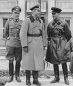 German Army Lieutenant General Heinz Guderian and Russian Army Brigadier General Semyon Krivoshein during the victory parade in Brest, Poland, 22 Sep 1939, photo 1 of 2