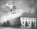 The Royal Castle in Warsaw, Poland burning after being hit by German shellfire, 17 Sep 1939