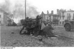 German troops engaging in street fighting in a Polish town, Sep 1939