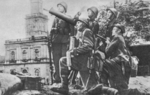 Members of a Polish Army anti-aircraft crew posing with their Ckm wz.30 machine gun, Warsaw, Sep 1939