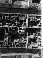 Aerial view of destroyed buildings between Zielna and Marszalkowska Streets in Warsaw, Poland, Sep 1939
