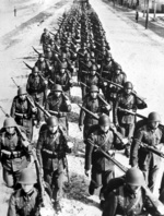 Polish soldiers marching, circa 1939