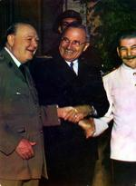 Churchill, Truman, and Stalin shaking hands during the Potsdam Conference, Germany, 23 Jul 1945, photo 1 of 3