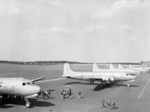 US C-54 Skymaster aircraft at the Berlin-Gatow airfield, Germany, 15 Jul 1945; these aircraft brought Harry Truman and other US leaders to Berlin for the Potsdam Conference
