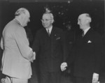 Winston Churchill, Harry Truman, and James Byrnes during the Potsdam Conference, Germany, 23 Jul 1945