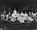 General Alexei Antenoff, General George Marshall, General Henry Arnold, Admiral Ernest King, and other Allied officers meeting during the Potsdam Conference, Germany, 27 Jul 1945, photo 1 of 2