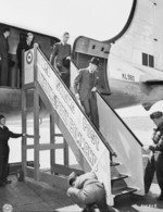 British Foreign Minister Anthony Eden arriving at Berlin-Gatow airfield, Berlin, Germany, 15 Jul 1945