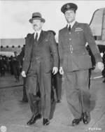 British Prime Minister Clement Attlee, accompanied by Captain D. Somerville, arriving at Berlin-Gatow airfield, Berlin, Germany, 28 Jul 1945