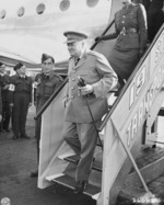 British Prime Minister Winston Churchill arriving at Berlin-Gatow airfield, Germany, 15 Jul 1945