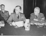 Vice Admiral C. M. Cooke, Jr. and General Brehon Somervell at a meeting during the Potsdam Conference, Germany, 21 Jul 1945